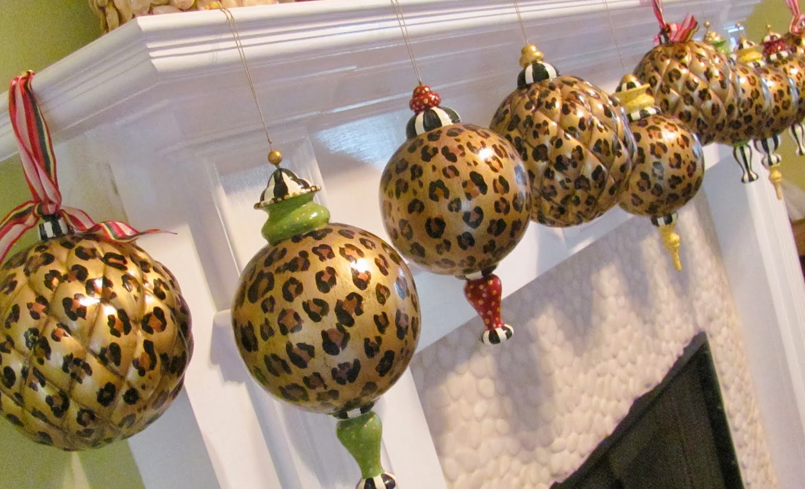Hand painted christmas ornaments and picture molding