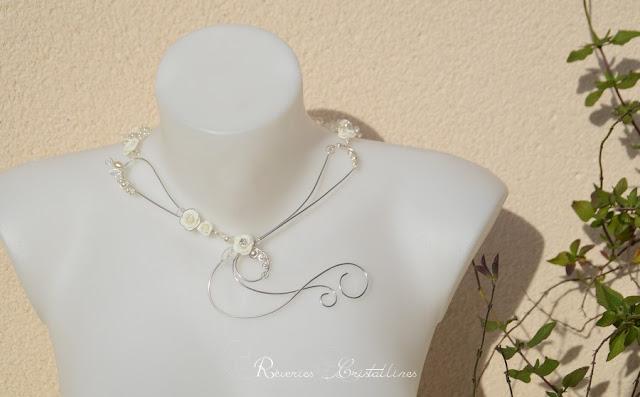 bijou mariage fil argent et blanc