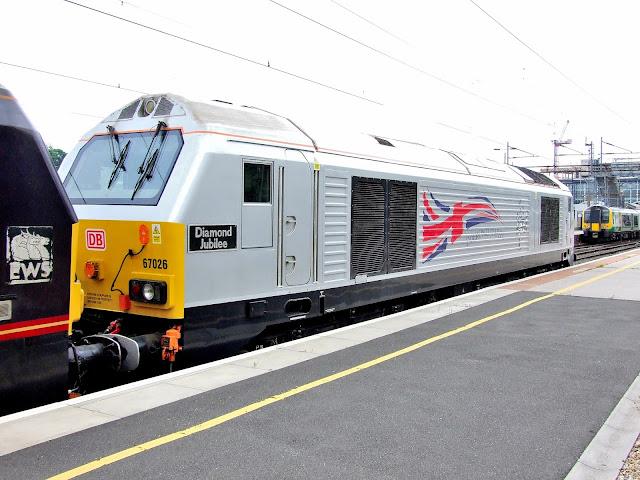 Class 67026 Diesel Locomotive 'Diamond Jubilee' Stands in Northampton Railway Station