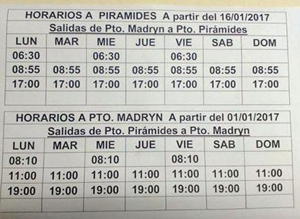 horarios de omnibus puerto piramides - puerto madryn
