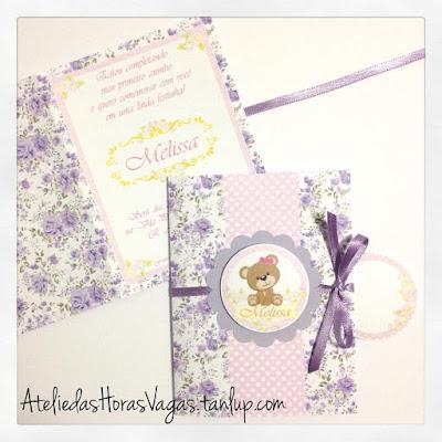 convite artesanal aniversário infantil floral delicado menina 1 aninho urso ursinha lilás roxo rosa