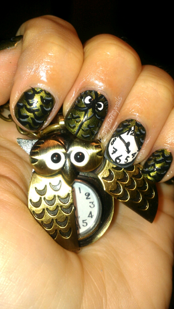 Rainysunraynails: Inspirational Nails. Can Owls Keep Time?
