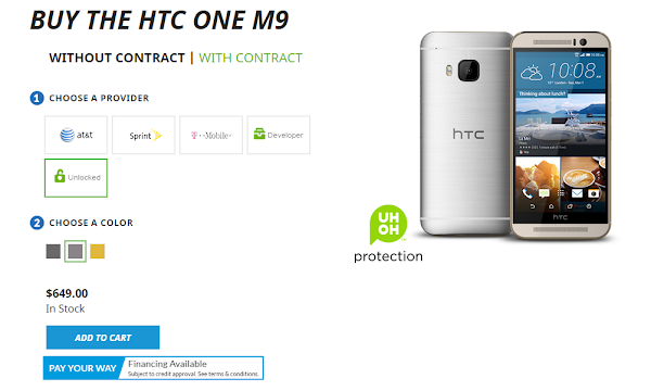 Buy the unlocked HTC One M9 directly from HTC for $649