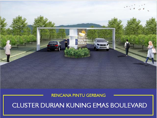 gerbang utama investasi properti syariah cluster durian musang king kampung buah cikalong