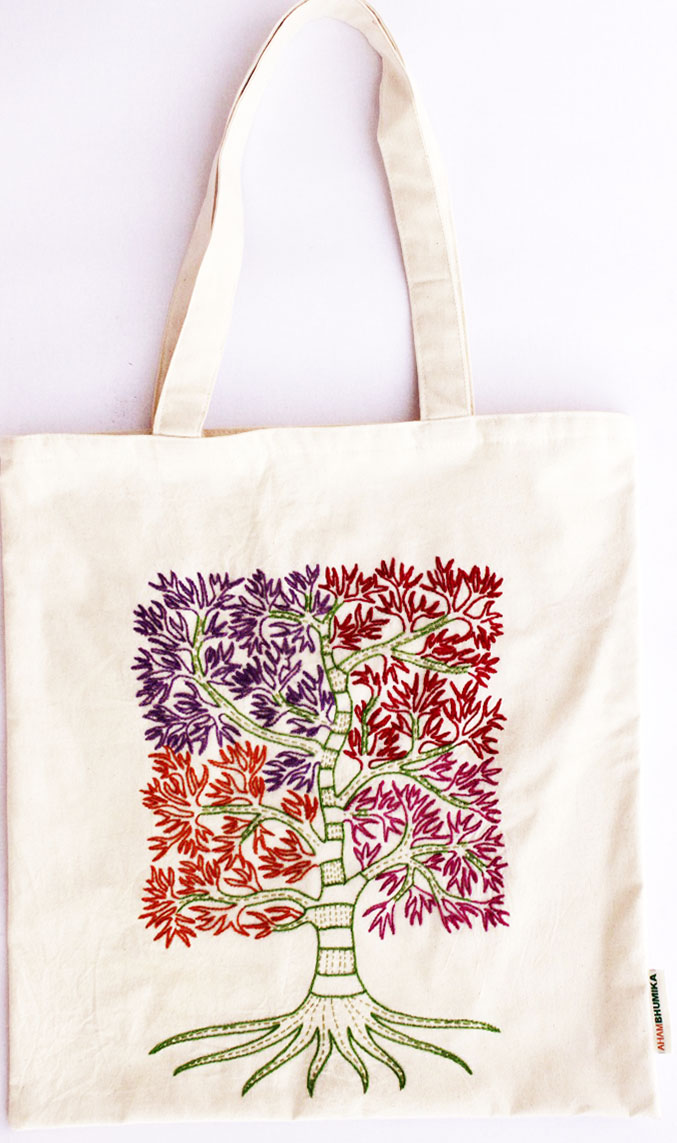 Hand Embroidered Colourful Tote Bags