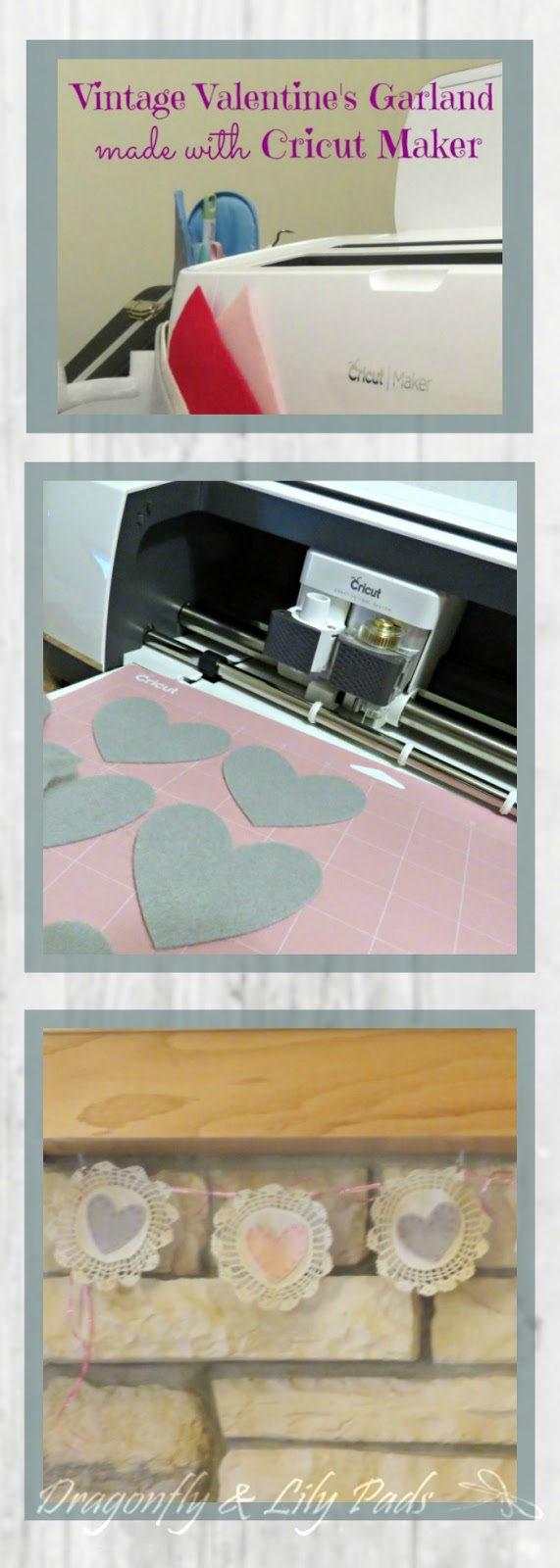 Vintage Heart Valentine's Garland Pinterest image of Cricut Maker, Gray hearts on cutting mat, Completed Garland