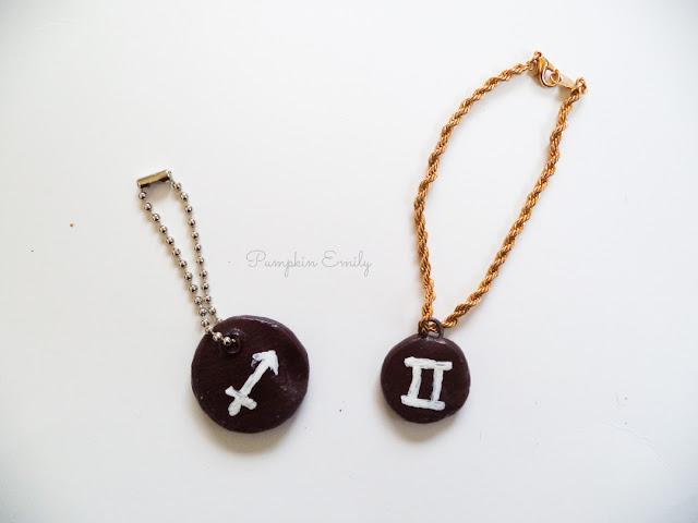 Two Zodiac Polymer Clay Charms