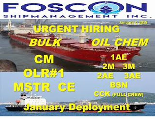 SEAMAN JOB Updated Requirements as of January hiring Filipino seaman crew join on bulk carrier ship and oil tanker ship.