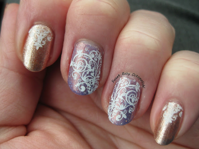 comparison of HK Girl VS Pro-FX quick dry as topcoat over stamping nail art