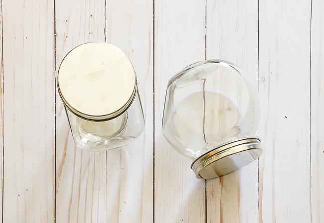 Glass Dollar Tree storage jars before