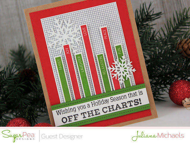 Detail Image - Holiday Season Graph Christmas Card by Juliana Michaels featuring Off The Charts Stamp Set by Sugar Pea Designs