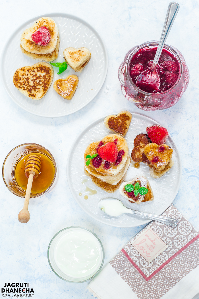 Have an awesome Valentine's day with this quintessential Almond French Toast Hearts! By creating these toasts you are going to start your day with so much fun.  These eggless and adorable heart shape french toasts have rich almond, vanilla and cinnamon flavours.