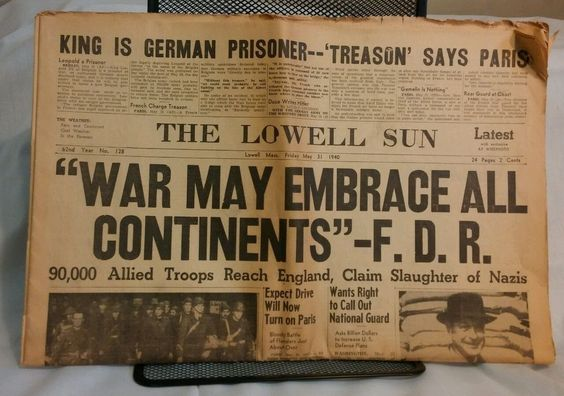 31 May 1940 worldwartwo.filminspector.com Lowell Sun headline