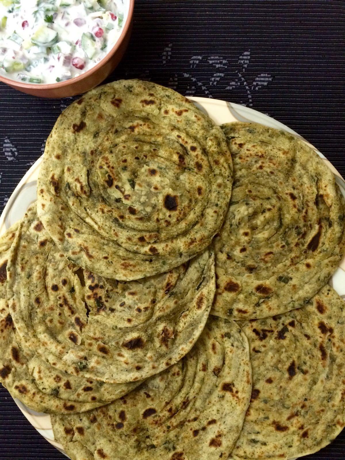 Methi Lachha Paratha | Fenugreek Spiced Layered Flat-bread
