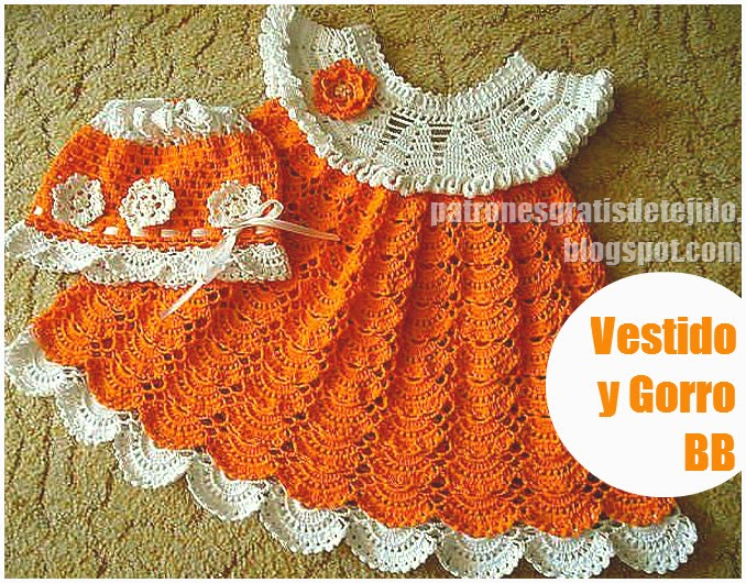 Vestido blanco y naranja para bebe