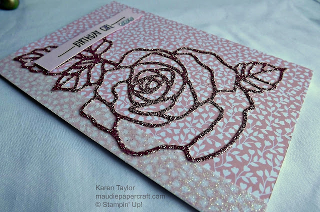 Stampin' Up! Rose Garden, Rose Wonder pink card