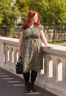 Fat lady in a retro dress