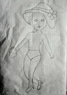 desenho de boneca com sapato e calcinha para colocar vestido de croche
