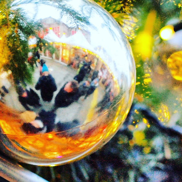 Reflection in a Christmas ornament in Berlin, Germany