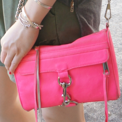 olive shorts, neon pink rebecca minkoff mini MAC bag | away from the blue