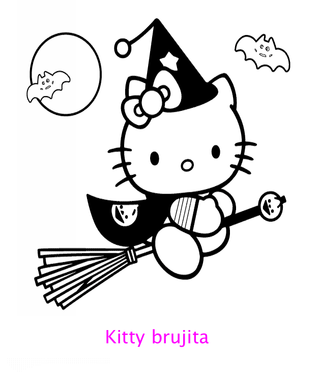 Hello Kitty Brujita Para Colorear Locos Por Hello Kitty