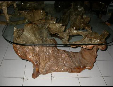 gambar meja unik dan antik dari akar kayu jati