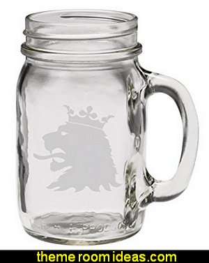Medieval Lion 12 oz Hand Etched Glass Mason Jar Mug
