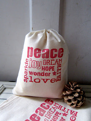muslin gift bag that says peace joy love hope wonder dream sparkle