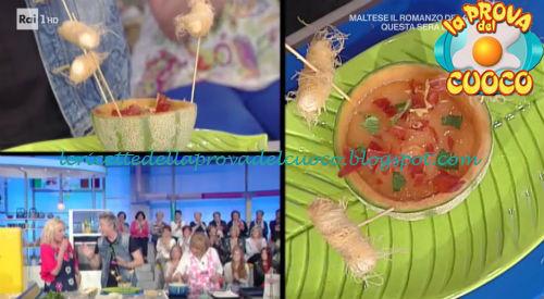 Crema di melone con scampi e prosciutto croccante ricetta Mainardi da Prova del Cuoco
