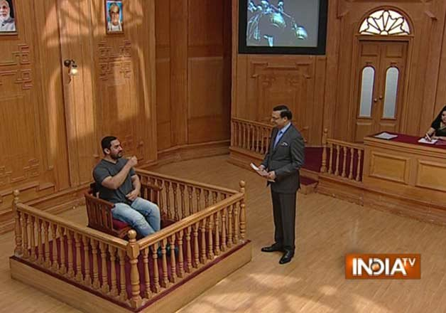 Bollywood actor Aamir Khan appeared lengthy discussion on Rajat Sharma's Aap Ki Adalat.  It was his first detailed media interaction after a huge storm had erupted over his remarks on intolerance in the country  Rajat Sharma, close to ruling establishment, threw sharp questions gently, moving Aamir from one contentious issue to another, but letting him speak freely.