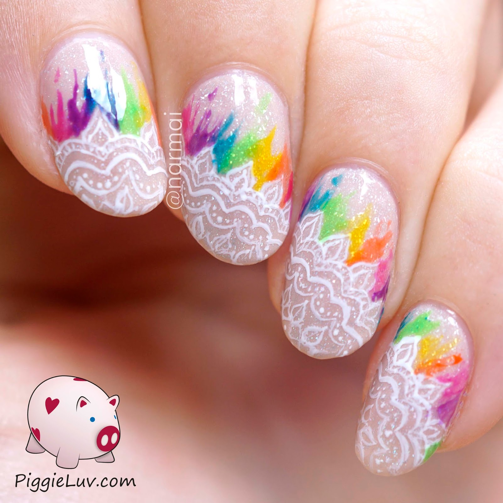Piggieluv Rainbow Lace Bridal Style Nail Art With Opi