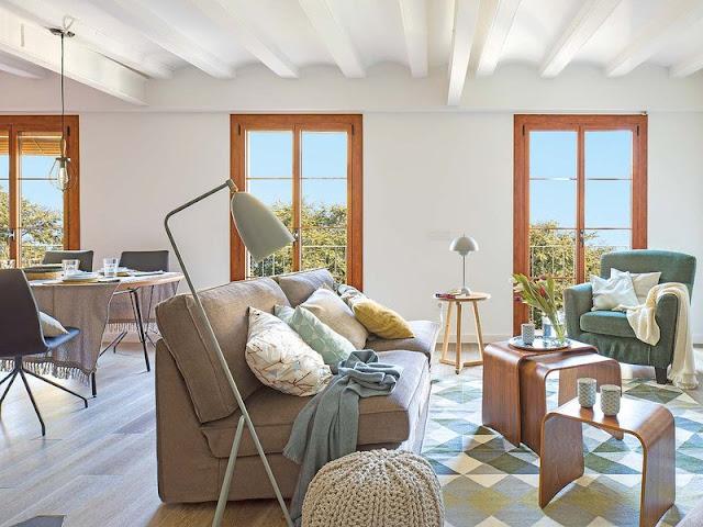 Motive geometrice într-un apartament de 78 m² din Barcelona