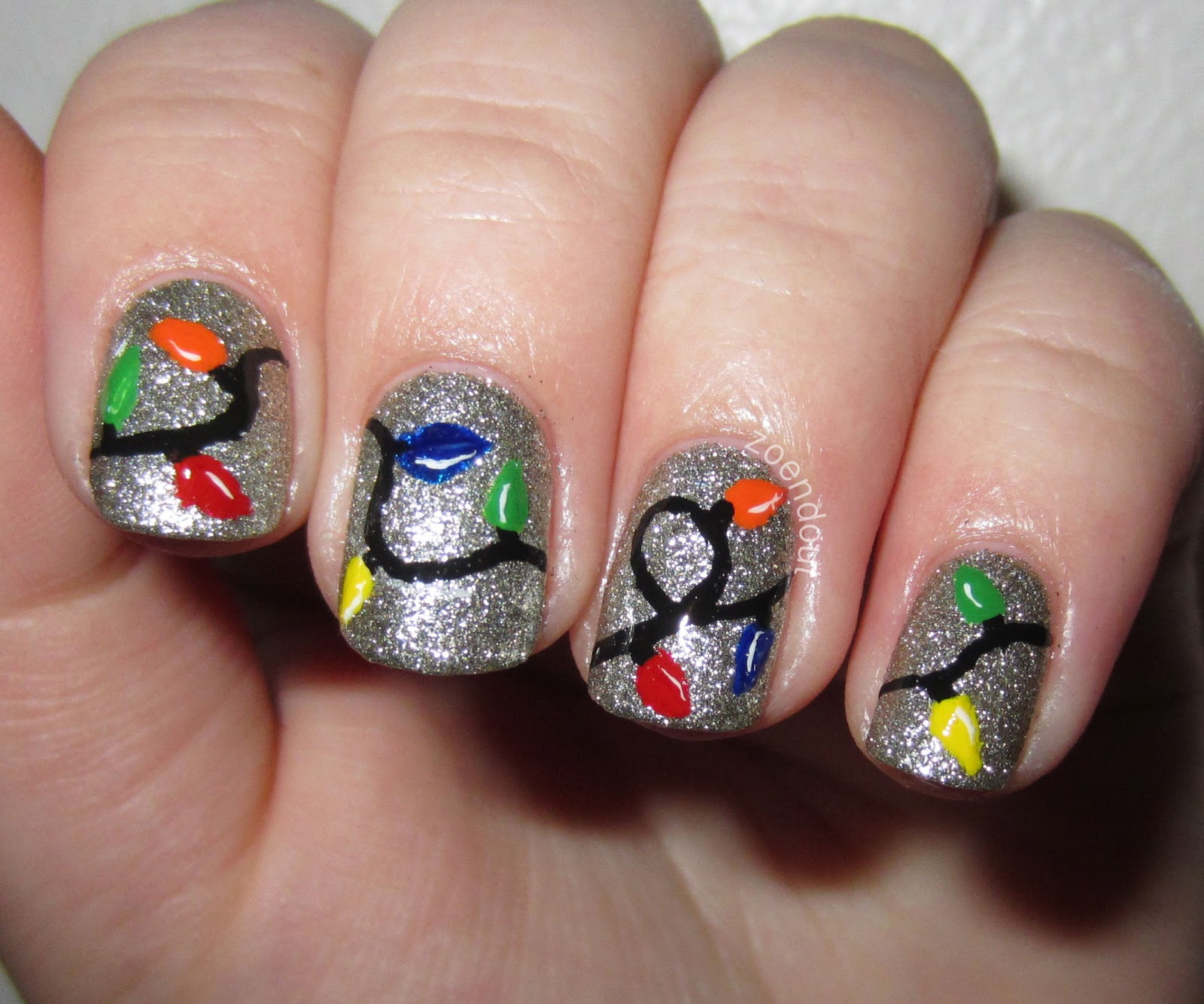 Christmas Nails Not Acrylic: Zoendout Nails: Christmas Lights Nail Tutorial