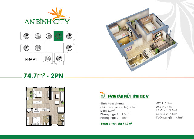 Thiết kế căn hộ 74m, 02 phòng ngủ, An Bình City