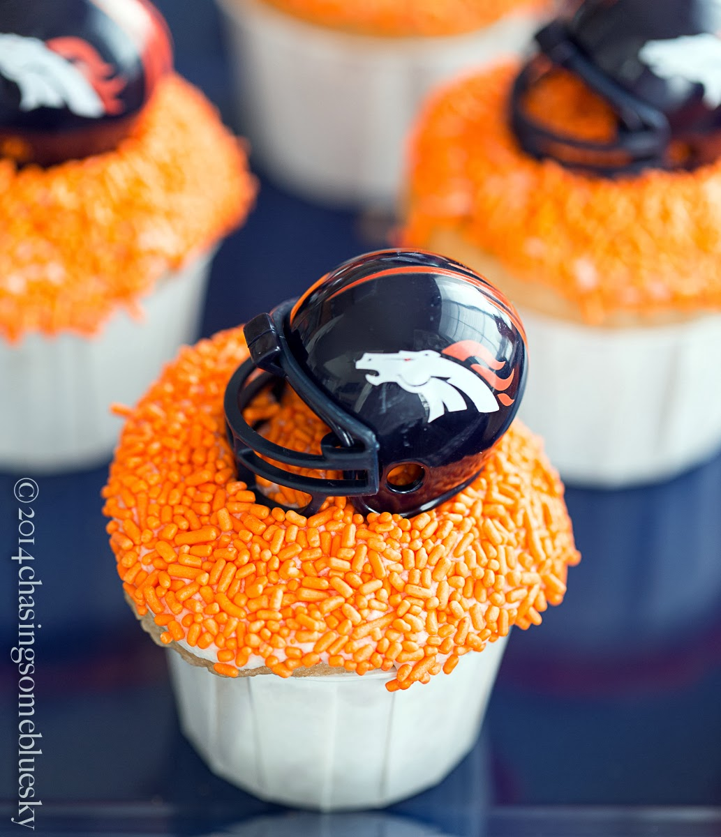 Denver Broncos Cupcakes from Chasing Some Blue Sky