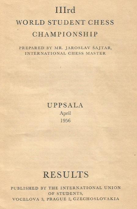 Primera página del libro del III Campeonato Mundial Universitario de Ajedrez - Uppsala 1956