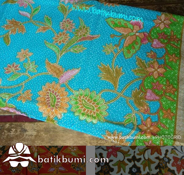 Batik Dobby Print Motif Buketan Kupu Biru