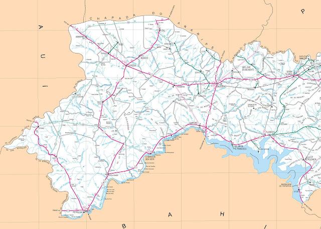 Mapa rodoviário de Petrolina e Oeste de Pernambuco