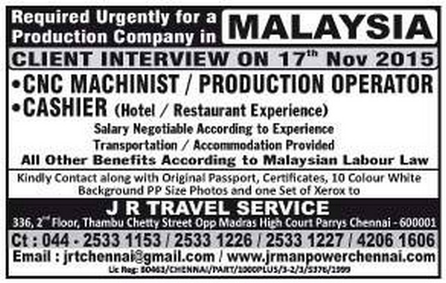 Job vacancies for KSA & MALAYSIA - Gulf Jobs for Malayalees on