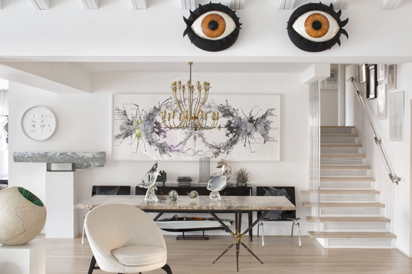 These Eyes! I Just Love Their Placement....and That Lucite Stair Handrail?