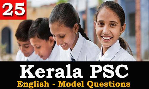 Kerala PSC - Model Questions English - 25