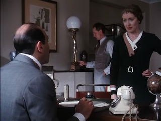 David Suchet, Hugh Fraser and Pauline Moran as Hercule Poirot, Arthur Hastings and Miss Lemon in Agatha Christie's Poirot