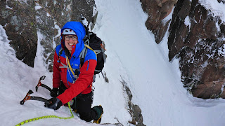 Guided winter climbing on Jacob's Edge with Adam on a Cairngorm winter mountaineering course