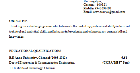 Be Mechanical Engineering Fresher Resume Format