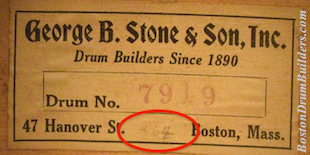 George B. Stone & Son Master-Model Drum Numberings