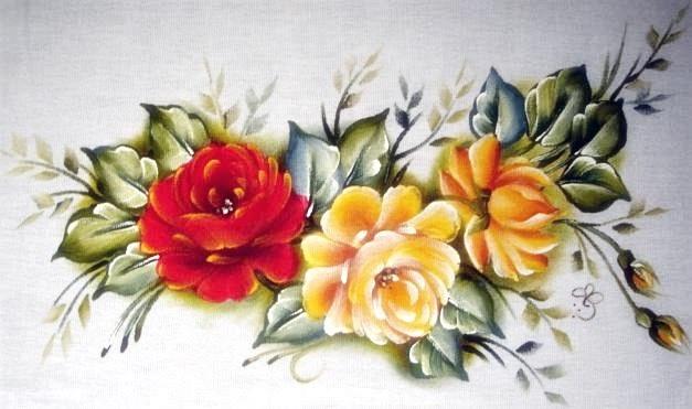 pano de prato com rosas pintadas