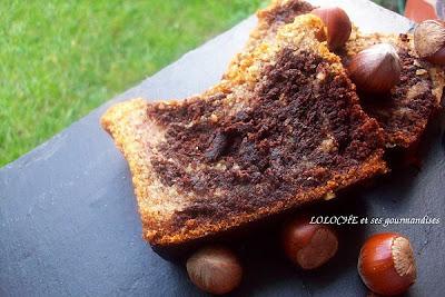 Cake marbré aux noisettes et chocolat façon financier croccanti