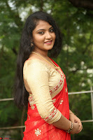 Akshara in Red Saree Golden Choli at LV Movie Makers Production No 1 Movie Opening ~  Exclusive 096.JPG