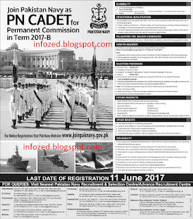 Pakistan Navy PN Cadet Permanent Commission Jobs 14 May Sunday 2017