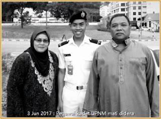gambar arwah kadet tentera laut UPNM bersama mak dan ayah beliau